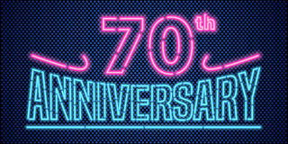 70 years anniversary vector illustration, banner, flyer, logo. Icon, symbol, advertisement. Graphic design element with vintage style neon font for 70th Stock Photography