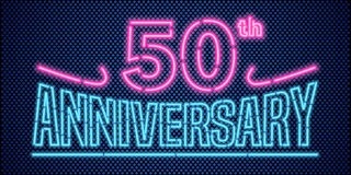 50 years anniversary vector illustration, banner, flyer, logo. Icon, symbol. Graphic design element with vintage style neon font for 50th anniversary Royalty Free Stock Images