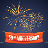 50 years anniversary vector illustration, banner, flyer, logo. Icon, symbol, invitation. Graphic design element with fireworks for 50th anniversary, birthday Royalty Free Stock Images