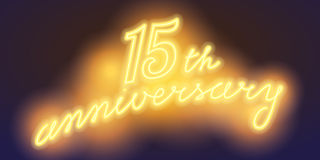 15 years anniversary vector illustration, banner. Flyer, logo, icon, symbol, sign. Graphic design element with electric light font for 15th anniversary royalty free illustration