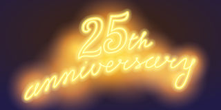 25 years anniversary vector illustration, banner. Flyer, logo, icon, symbol, sign. Graphic design element with electric light font for 25th anniversary Royalty Free Stock Images
