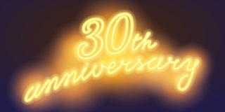 30 years anniversary vector illustration, banner. Flyer, logo, icon, symbol, sign. Graphic design element with electric light font for 30th anniversary Royalty Free Stock Images