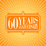 60 years anniversary vector illustration, icon, logo. Graphic design element for 60th anniversary birthday greeting card Royalty Free Stock Photo