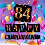 84 years anniversary vector illustration. Banner, flyer, logo, icon, symbol. Graphic design element with flag, balloon, ribbon confetty Birthday greeting event Stock Image
