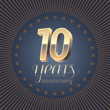 10 years anniversary vector logo. Decoration design element with medal and 3D number for 10th anniversary Stock Images