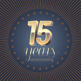 15 years anniversary vector logo. Decoration design element with medal and 3D number for 15th anniversary stock illustration