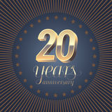 20 years anniversary vector logo. Decoration design element with medal and 3D number for 20th anniversary Stock Images