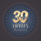 30 years anniversary vector logo. Decoration design element with medal and 3D number for 30th anniversary Stock Photo