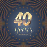 40 years anniversary vector logo Royalty Free Stock Image