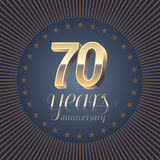 70 years anniversary vector logo. Decoration design element with medal and 3D number for 70th anniversary Royalty Free Stock Photo