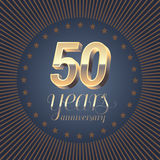 50 years anniversary vector logo. Decoration design element with medal and 3D number for 50th anniversary Royalty Free Stock Image