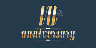10 years anniversary vector logo. Decorative design element with lettering and number for 10th anniversary Royalty Free Stock Photography
