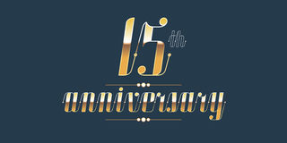 15 years anniversary vector logo. Decorative design element with lettering and number for 15th anniversary vector illustration