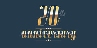 20 years anniversary vector logo. Decorative design element with lettering and number for 20th anniversary Stock Photo