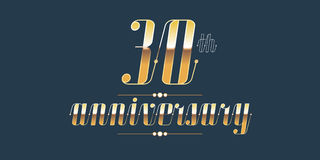 30 years anniversary vector logo. Decorative design element with lettering and number for 30th anniversary Royalty Free Stock Photos