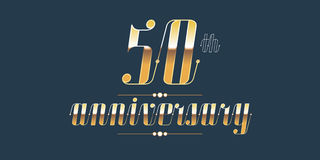 50 years anniversary vector logo. Decorative design element with lettering and number for 50th anniversary Stock Images