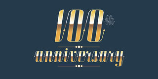 100 years anniversary vector logo. Decorative design element with lettering and number for 100th anniversary Royalty Free Stock Photography