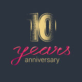 10 years anniversary vector logo. Graphic design element with golden glitter stamp for decoration for 10th anniversary royalty free illustration