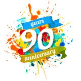 90 years anniversary. Vector watercolor splash paint. Ninety years anniversary. Vector watercolor splash paint Stock Illustration