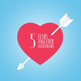 5 years anniversary of wedding or marriage vector icon, illustration. Template design element with heart and arrow for celebration of 5th wedding Stock Images