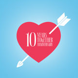 10 years anniversary of wedding or marriage vector icon, illustration. Template design element with heart and arrow for celebration of 10th wedding Royalty Free Stock Photography