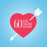 60 years anniversary of wedding or marriage vector icon, illustration. Template design element with heart and arrow for celebration of 60th wedding Stock Photography