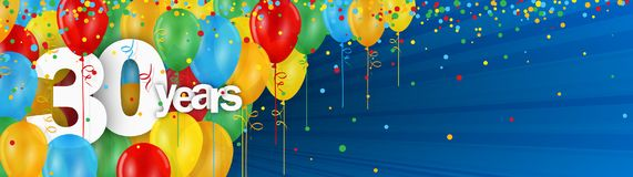 30 Years banner card with colorful balloons and confetti. 30 Years  banner card with colorful balloons and confetti on dark blue background Royalty Free Stock Images
