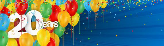 20 Years banner card with colorful balloons and confetti. On dark blue background vector illustration