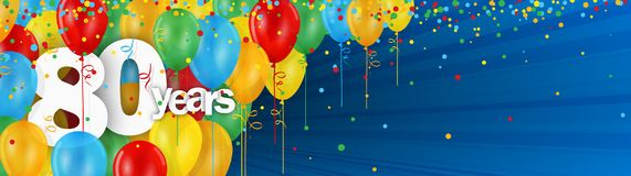 80 Years banner card with colorful balloons and confetti. 80 Years  banner card with colorful balloons and confetti on dark blue background Royalty Free Stock Photos