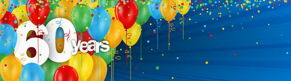 60 Years banner card with colorful balloons and confetti. 60 Years  banner card with colorful balloons and confetti on dark blue background Royalty Free Stock Image