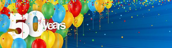 50 Years banner card with colorful balloons and confetti. 50 Years  banner card with colorful balloons and confetti on dark blue background Royalty Free Stock Photo