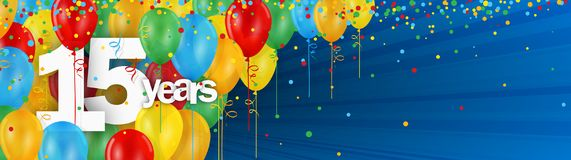 15 Years banner card with colorful balloons and confetti. On dark blue background Vector Illustration