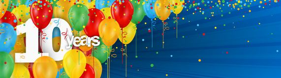 10 Years banner card with colorful balloons and confetti. On dark blue background Royalty Free Illustration