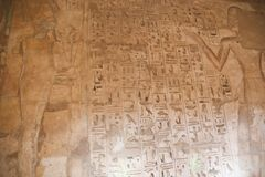1500 years BC Ancient Egyptian Graves. 23 September 2017 Ancient colorful painting on wall inside Egyptian Nobles Graves that painted before 1500 years BC royalty free stock photography