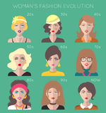 100 years of beauty. Female fashion evolution infographics. Vogue of 20th century trends changes. Vector set of different women app icons in flat style Stock Illustration