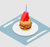 4 years birthday burger. Number four with candle. Burger anniver Stock Photo