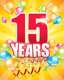 15 years birthday card Royalty Free Stock Photo