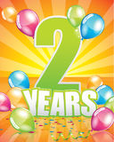 2 years birthday card Royalty Free Stock Images