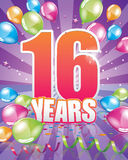 16 years birthday card Royalty Free Stock Photography