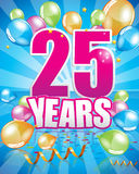 25 years birthday card. Full vector elements Stock Images