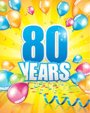 80 years birthday card. Full vector elements Royalty Free Stock Image