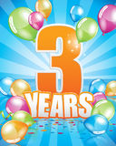 3 years birthday card Stock Photography
