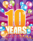 10 years birthday card Stock Photography