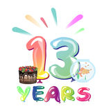 13 years birthday celebration with balloons. Vector illustration royalty free illustration