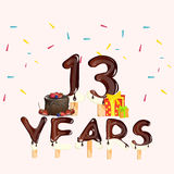 13 Years Birthday Celebration, with cake and gift. Vector illustration royalty free illustration