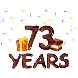 73 Years Birthday Celebration for greeting cards. Vector illustration Royalty Free Stock Photos