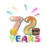 72 Years Birthday Design for greeting cards. Vector illustration Stock Illustration