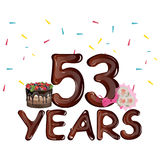 53 Years Birthday Design for greeting cards. Vector illustration royalty free illustration