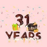 31 Years Birthday Design for greeting cards Royalty Free Stock Images