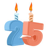 25 years birthday. Number with festive candle for holiday cake. Twenty five Anniversary stock illustration